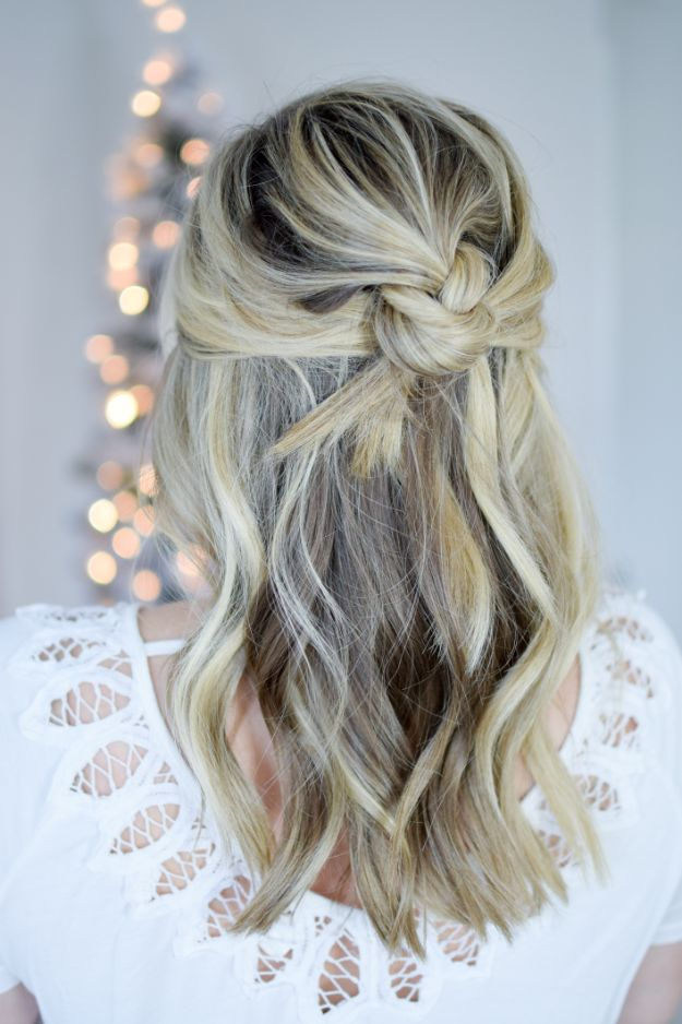 Holiday Hairstyles - Easy Knotted Half Up - Cute DIY Hair Styles for Christmas and New Years Eve, Special Occasion - Updos, Braids, Buns, Ponytails, Half Up Half Down Looks #hairstyles