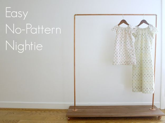 DIY Nightgowns and Sleepwear - Easy No-Pattern Nightie - Easy Sewing Projects for Cute Nightshirts, Tshirts, Gowns and Pajamas - Free Patterns and Step by Step Tutorials #womensclothing #sleepwear #diyclothes #sewing