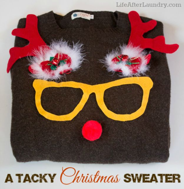 DIY Ugly Christmas Sweaters - Easy Tacky Christmas Sweater - No Sew and Easy Sewing Projects - Ideas for Him and Her to Wear to Holiday Contest or Office Party Outfit - Funny Couples Sweater, Mens Womens and Kids #christmas