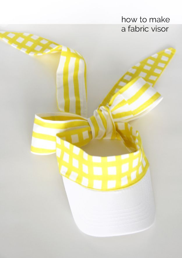 DIY Hats - Fabric Visor DIY - Creative Do It Yourself Hat Tutorials for Making a Hat - Step by Step Tutorial for Cute and Easy Baseball Hat, Cowboy Hat, Flowers or Floral Tea Party Ideas, Kids and Adults, Knit Cap for Babies http://diyjoy.com/diy-hats