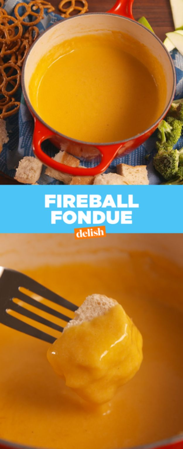 Fireball Whiskey Recipes - Fireball Fondue - Fire ball Whisky Recipe Ideas - Pie, Desserts, Drinks, Homemade Food and Cocktails - Easy Treats and Christmas Dishes #fireball #recipes #food