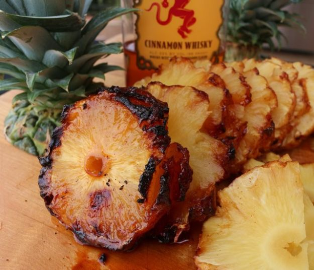 Fireball Whiskey Recipes - Fireball Pineapple Grilled on Rotisserie and Caramelized - Fire ball Whisky Recipe Ideas - Pie, Desserts, Drinks, Homemade Food and Cocktails - Easy Treats and Christmas Dishes #fireball #recipes #food
