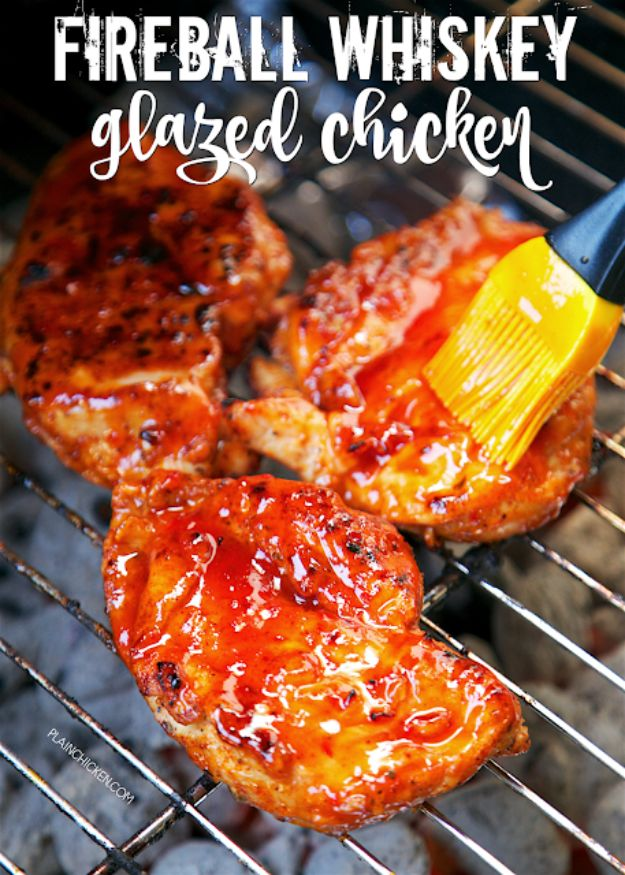 Fireball Whiskey Recipes - Fireball Whiskey Glazed Chicken - Fire ball Whisky Recipe Ideas - Pie, Desserts, Drinks, Homemade Food and Cocktails - Easy Treats and Christmas Dishes #fireball #bestrecipes https://diyjoy.com/fireball-whiskey-recipes