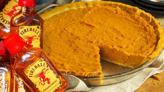 Fireball Whiskey Recipes - Fireball Whisky Pumpkin Pie - Fire ball Whisky Recipe Ideas - Pie, Desserts, Drinks, Homemade Food and Cocktails - Easy Treats and Christmas Dishes #fireball #bestrecipes https://diyjoy.com/fireball-whiskey-recipes