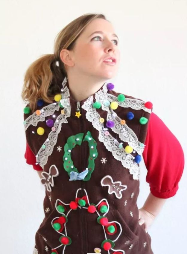 DIY Ugly Christmas Sweaters - Fleece Vest Ugly Christmas Sweater - No Sew and Easy Sewing Projects - Ideas for Him and Her to Wear to Holiday Contest or Office Party Outfit - Funny Couples Sweater, Mens Womens and Kids #christmas