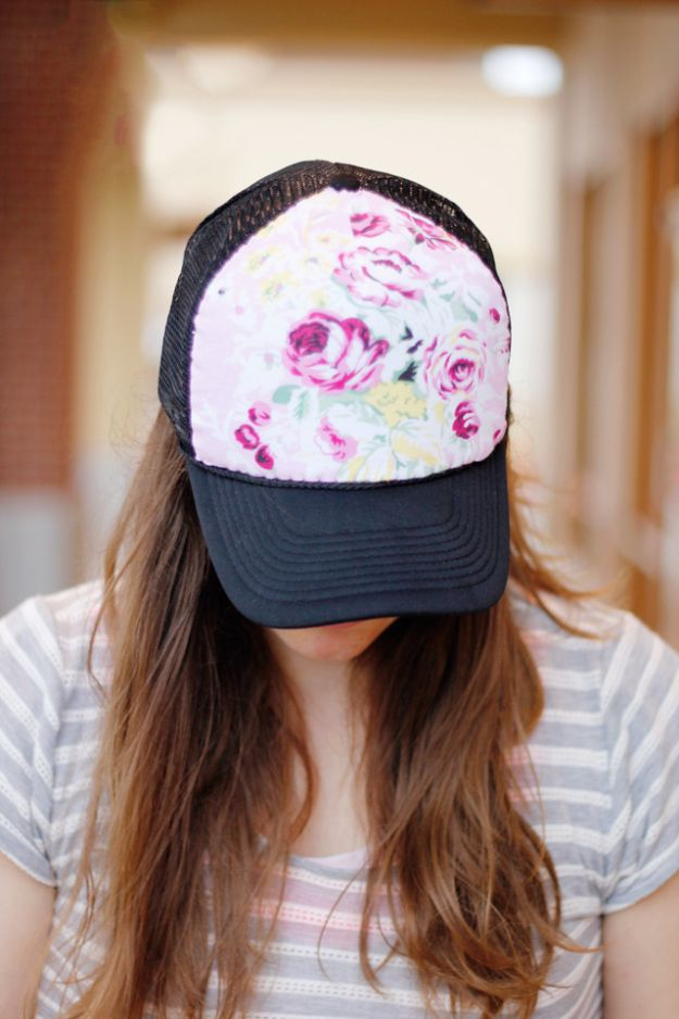DIY Hats - Floral Trucker Hat DIY - Creative Do It Yourself Hat Tutorials for Making a Hat - Step by Step Tutorial for Cute and Easy Baseball Hat, Cowboy Hat, Flowers or Floral Tea Party Ideas, Kids and Adults, Knit Cap for Babies http://diyjoy.com/diy-hats