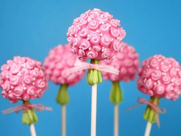 Cake Pop Recipes and Ideas - Flower Bouquet Cake Pops - Easy Recipe for Chocolate, Funfetti Birthday, Oreo, Red Velvet - Wedding and Christmas DIY #dessertrecipes #cakepops https://diyjoy.com/cake-pop-recipes