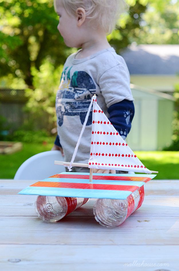 Easy Crafts for Kids - From Trash To Boat - Quick DIY Ideas for Children - Boys and Girls Love These Cool Craft Projects - Indoor and Outdoor Fun at Home - Cheap Playtime Activities #kidscrafts