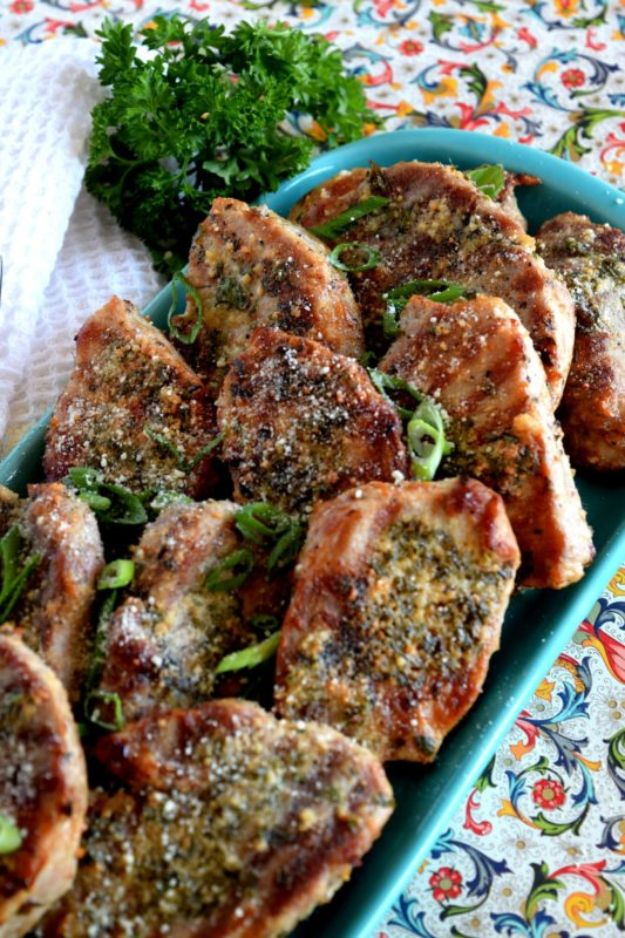 Pork Chop Recipes - Garlicky Butter Chive Parmesan Pork Chops - Best Recipe Ideas for Pork Chops - Healthy Baked, Grilled and Crockpot Dishes - Easy Boneless Skillet Chops #recipes #porkrecipes #porkchops