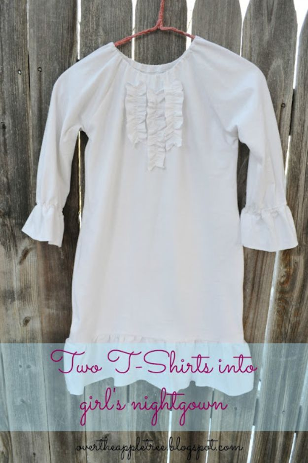 DIY Nightgowns and Sleepwear - Girl's Nightgown Made From Men's T-Shirts - Easy Sewing Projects for Cute Nightshirts, Tshirts, Gowns and Pajamas - Free Patterns and Step by Step Tutorials #womensclothing #sleepwear #diyclothes #sewing
