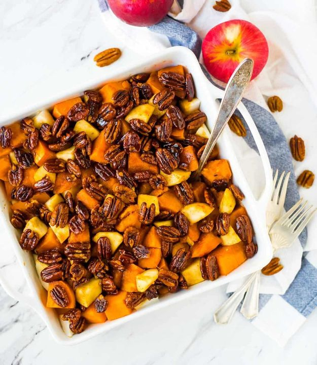 Fireball Whiskey Recipes - Glazed Sweet Potatoes with Honey Whiskey Pecans - Fire ball Whisky Recipe Ideas - Pie, Desserts, Drinks, Homemade Food and Cocktails - Easy Treats and Christmas Dishes #fireball #recipes #food