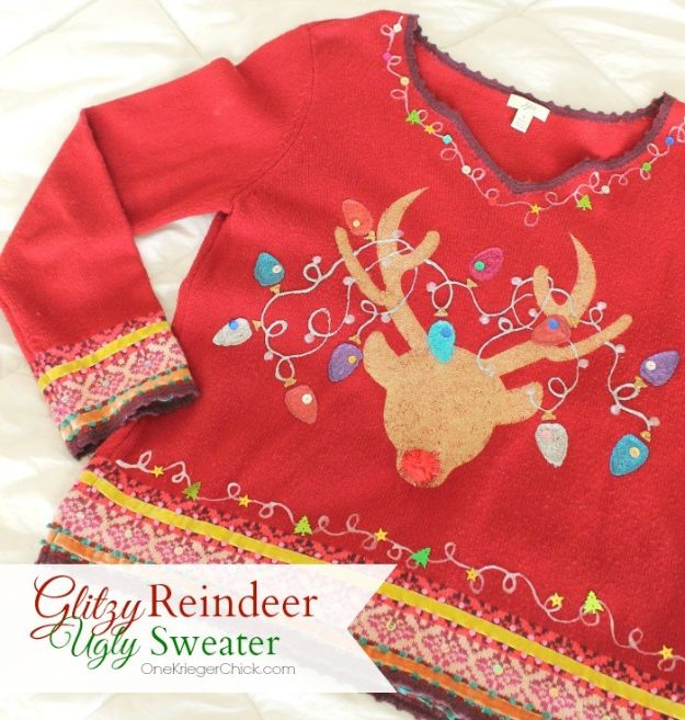 DIY Ugly Christmas Sweaters - Glitzy Reindeer Ugly Sweater - No Sew and Easy Sewing Projects - Ideas for Him and Her to Wear to Holiday Contest or Office Party Outfit - Funny Couples Sweater, Mens Womens and Kids #christmas