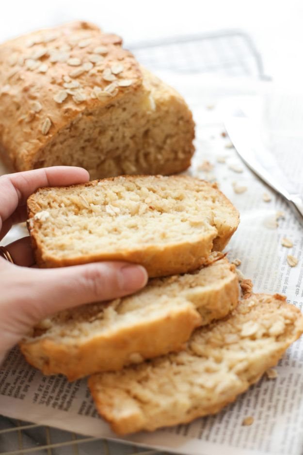Breakfast Breads - Gluten-Free Honey Oat Quick Bread - Homemade Breakfast Bread Recipes - Healthy Fruit, Nut, Banana and Vegetable Recipe Ideas - Best Brunch Dishes #breakfastrecipes #brunch https://diyjoy.com/breakfast-bread-recipes