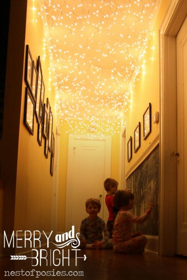 DIY Christmas Decorations - Hallway Twinkle Lights - Easy Handmade Christmas Decor Ideas - Cheap Xmas Projects to Make for Holiday Decorating - Home, Porch, Mantle, Tree, Lights #diy #christmas #diydecor #holiday