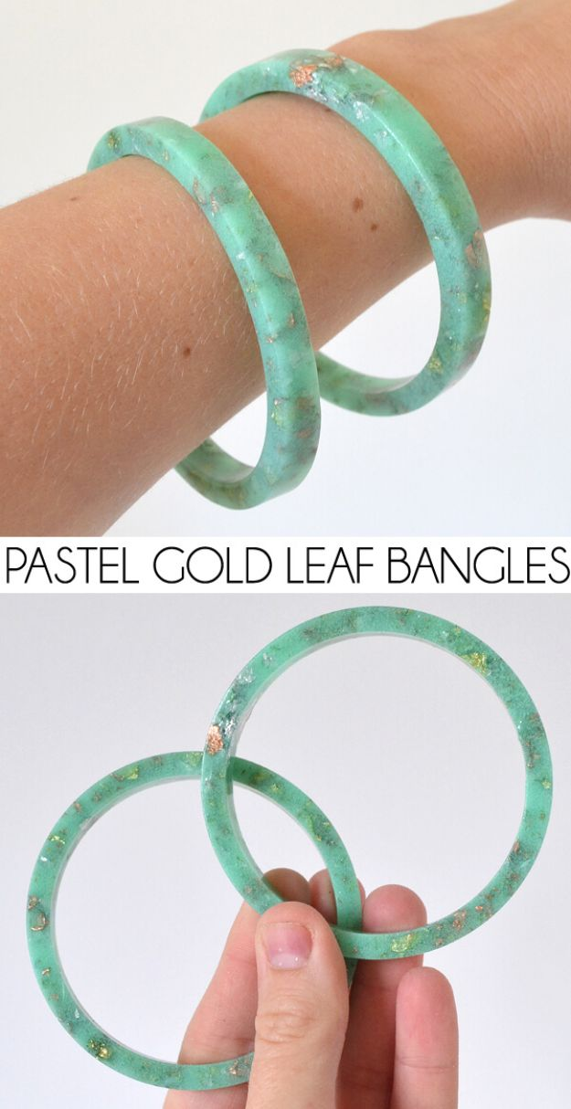 DIY Resin Casting Crafts - Handmade Resin Pastel and Gold Leaf Bangles - Homemade Resin and Epoxy Craft Projects and Ideas - How to Make Resin Jewelry - Use Silicon Molds to Make Paper Weights, Creative Christmas Ornaments and Crafts to Make and Sell - Flowers, Pictures, Clocks, Tabletop, Inspiration for Handmade Jewelry and Items to Sell on Etsy #crafts