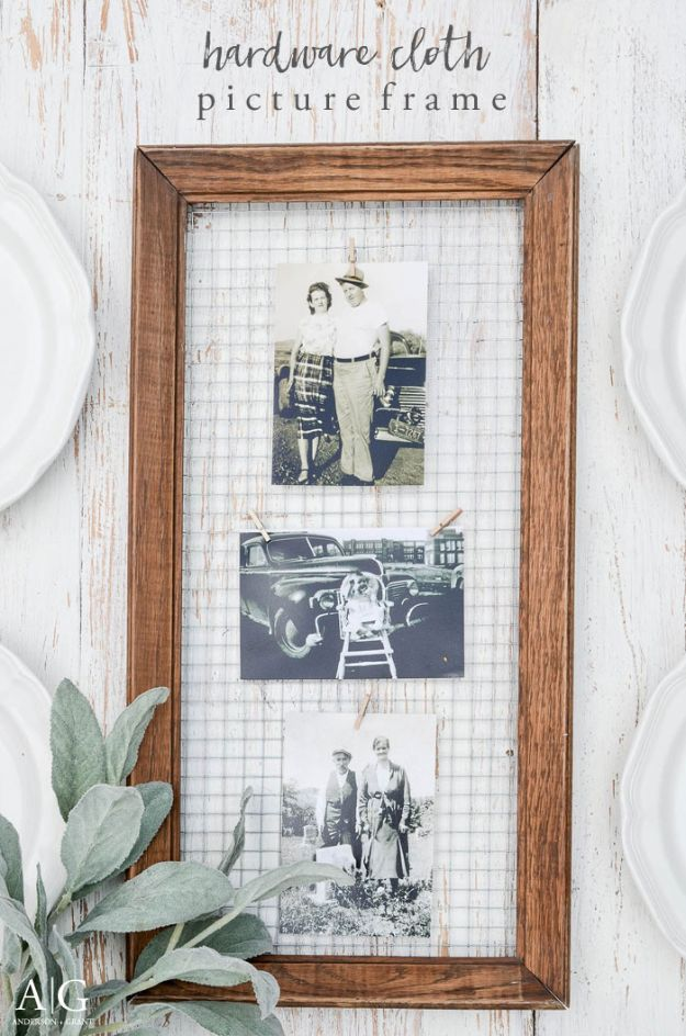 Magnolia Homes Decor Ideas - Hardware Cloth Picture Frame - DIY Decor Inspired by Chip and Joanna Gaines - Fixer Upper Dining Room, Coffee Tables, Light Fixtures for Your House - Do It Yourself Decorating On A Budget With Farmhouse Style Decorations for the Home