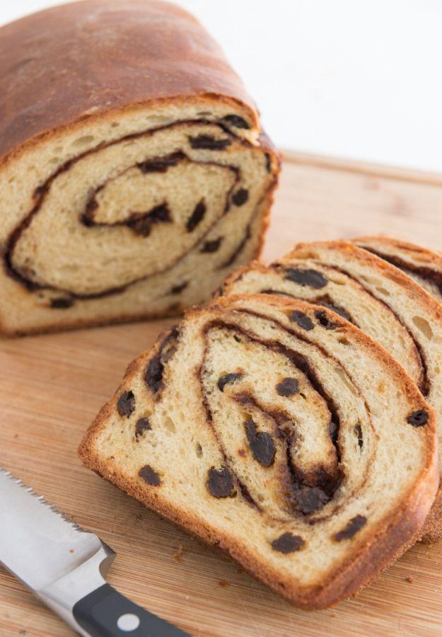 Breakfast Breads - Homemade Cinnamon Raisin Bread - Homemade Breakfast Bread Recipes - Healthy Fruit, Nut, Banana and Vegetable Recipe Ideas - Best Brunch Dishes