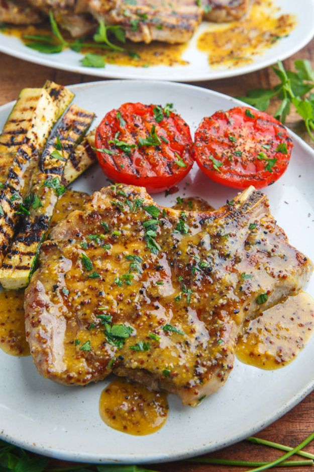 Pork Chop Recipes - Honey Mustard Grilled Pork Chops - Best Recipe Ideas for Pork Chops - Healthy Baked, Grilled and Crockpot Dishes - Easy Boneless Skillet Chops https://diyjoy.com/pork-chop-recipes