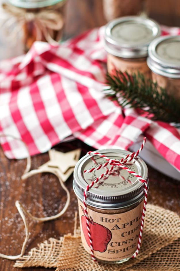 DIY Christmas Gifts - Hot Apple Cider Cinnamon Spice Mix - Easy Handmade Gift Ideas for Xmas Presents - Cheap Projects to Make for Holiday Gift Giving - Mom, Dad, Boyfriend, Girlfriend, Husband, Wife #diygifts #christmasgifts