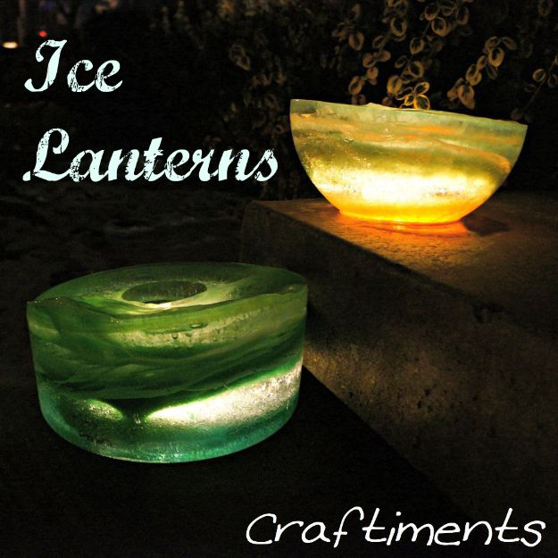 DIY Christmas Decorations - Ice Lanterns - Easy Handmade Christmas Decor Ideas - Cheap Xmas Projects to Make for Holiday Decorating - Home, Porch, Mantle, Tree, Lights #diy #christmas #diydecor #holiday
