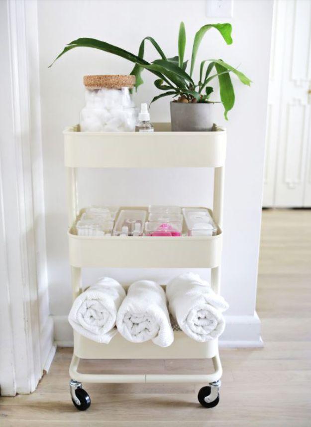 Cheap Bathroom Decor Ideas - Ikea Cart Bathroom Organizer - DIY Decor and Home Decorating Ideas for Bathrooms - Easy Wall Art, Rugs and Bath Mats, Shower Curtains, Tissue and Toilet Paper Holders #diy #bathroom #homedecor