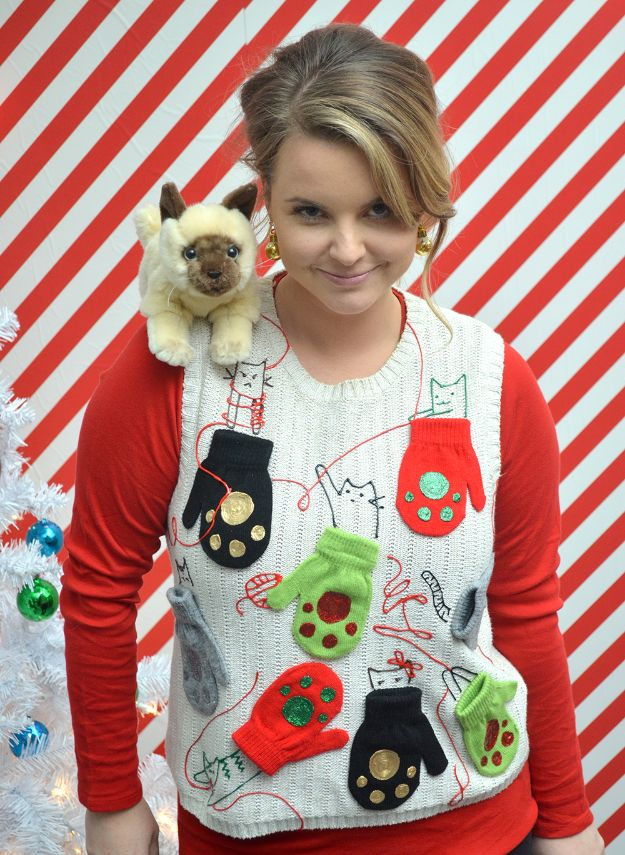 DIY Ugly Christmas Sweaters - Kitten Mittens Ugly Sweater DIY - No Sew and Easy Sewing Projects - Ideas for Him and Her to Wear to Holiday Contest or Office Party Outfit - Funny Couples Sweater, Mens Womens and Kids #christmas