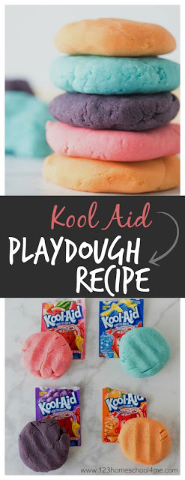 Easy Crafts for Kids - Kool Aid Playdough - Quick DIY Ideas for Children - Boys and Girls Love These Cool Craft Projects - Indoor and Outdoor Fun at Home - Cheap Playtime Activities https://diyjoy.com/best-easy-crafts-for-kids