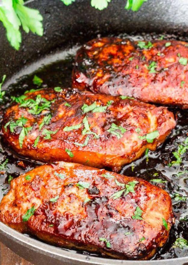 Pork Chop Recipes - Korean Style Pork Chops - Best Recipe Ideas for Pork Chops - Healthy Baked, Grilled and Crockpot Dishes - Easy Boneless Skillet Chops #recipes #porkrecipes #porkchops