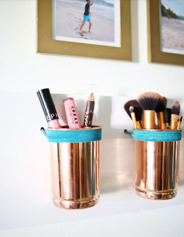 Cheap Bathroom Decor Ideas - Leather + Copper Cup Organizer DIY - DIY Decor and Home Decorating Ideas for Bathrooms - Easy Wall Art, Rugs and Bath Mats, Shower Curtains, Tissue and Toilet Paper Holders #diy #bathroom #homedecor