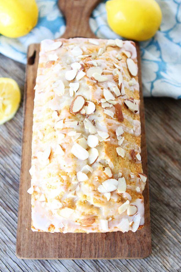 Breakfast Breads - Lemon Almond Bread - Homemade Breakfast Bread Recipes - Healthy Fruit, Nut, Banana and Vegetable Recipe Ideas - Best Brunch Dishes