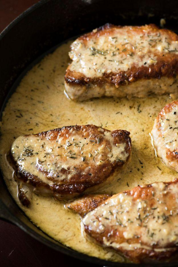 Pork Chop Recipes - Lemon Thyme Pork Chops - Best Recipe Ideas for Pork Chops - Healthy Baked, Grilled and Crockpot Dishes - Easy Boneless Skillet Chops #recipes #porkrecipes #porkchops