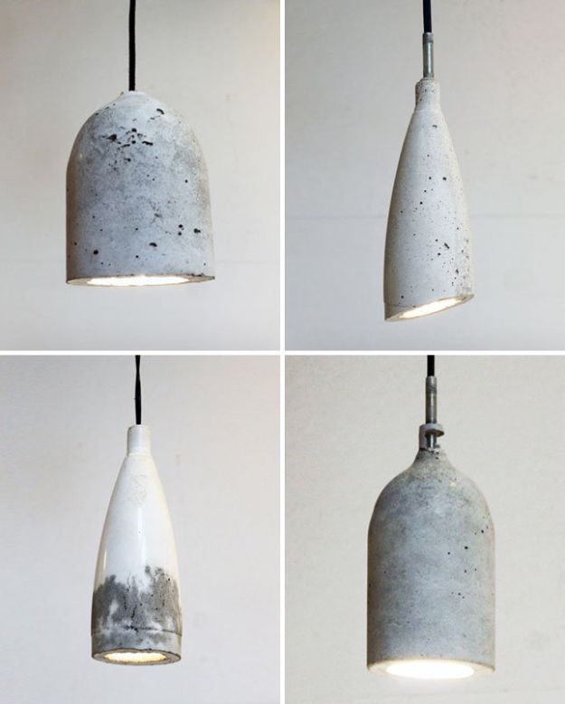 DIY Lighting Ideas - Make Concrete Pendant Lamps - Indoor Lighting for Bedroom, Kitchen, Bathroom and Home - Outdoor Do It Yourself Lighting Ideas for the Backyard, Patio, Porch Lights, Chandeliers, Lamps and String Lights https://diyjoy.com/diy-lighting-projects
