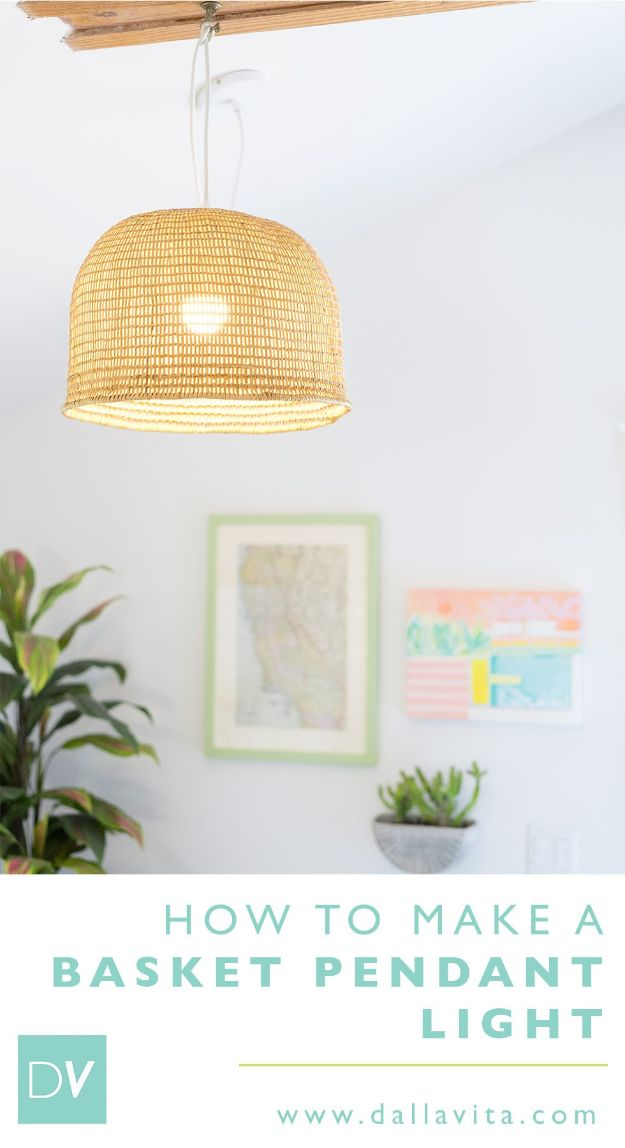 DIY Lighting Ideas - Make a Basket Pendant Light - Indoor Lighting for Bedroom, Kitchen, Bathroom and Home - Outdoor Do It Yourself Lighting Ideas for the Backyard, Patio, Porch Lights, Chandeliers, Lamps and String Lights https://diyjoy.com/diy-lighting-projects