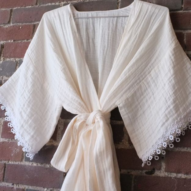 DIY Nightgowns and Sleepwear - Make a Breezy Beautiful Kimono Robe - Easy Sewing Projects for Cute Nightshirts, Tshirts, Gowns and Pajamas - Free Patterns and Step by Step Tutorials #womensclothing #sleepwear #diyclothes #sewing