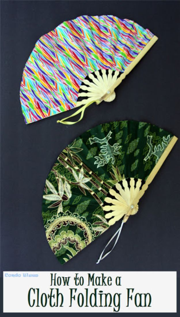 Easy Sewing Projects To Sew For Gifts - Make a Folding Cloth Fan - Simple Sewing Tutorials and Free Patterns for Making Christmas and Birthday Presents - Cheap Ideas to Make and Sell on Etsy