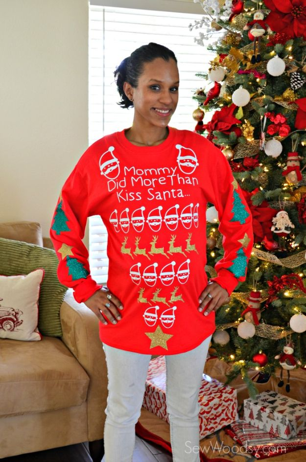 DIY Ugly Christmas Sweaters - Maternity Pretty Ugly Christmas Sweater - No Sew and Easy Sewing Projects - Ideas for Him and Her to Wear to Holiday Contest or Office Party Outfit - Funny Couples Sweater, Mens Womens and Kids #christmas