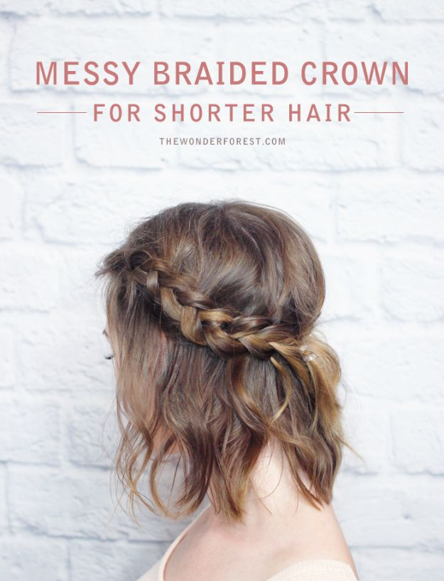 Holiday Hairstyles - Messy Braided Crown - Cute DIY Hair Styles for Christmas and New Years Eve, Special Occasion - Updos, Braids, Buns, Ponytails, Half Up Half Down Looks #hairstyles