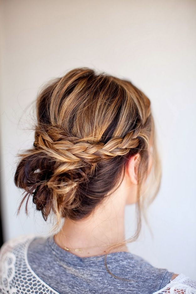 Holiday Hairstyles - Messy Knotted Bun With Braided Band - Cute DIY Hair Styles for Christmas and New Years Eve, Special Occasion - Updos, Braids, Buns, Ponytails, Half Up Half Down Looks  #hairstyles