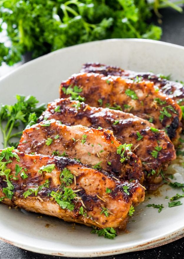 Pork Chop Recipes - Mustard Balsamic Pork Chops with Rosemary - Best Recipe Ideas for Pork Chops - Healthy Baked, Grilled and Crockpot Dishes - Easy Boneless Skillet Chops #recipes #porkrecipes #porkchops