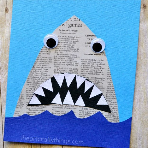 Easy Crafts for Kids - Newspaper Shark Craft - Quick DIY Ideas for Children - Boys and Girls Love These Cool Craft Projects - Indoor and Outdoor Fun at Home - Cheap Playtime Activities #kidscrafts