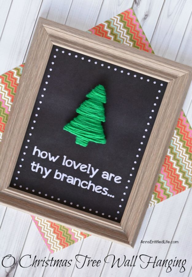 DIY Christmas Gifts - O Christmas Tree Wall Hanging - Easy Handmade Gift Ideas for Xmas Presents - Cheap Projects to Make for Holiday Gift Giving - Mom, Dad, Boyfriend, Girlfriend, Husband, Wife #diygifts #christmasgifts