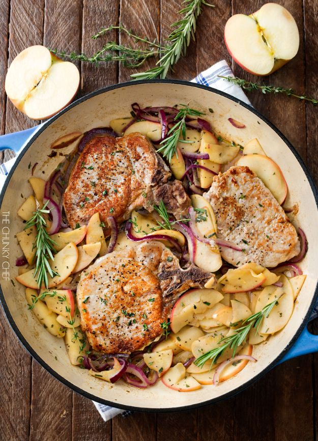 Pork Chop Recipes - One Pan Pork Chop With Apples and Onions - Best Recipe Ideas for Pork Chops - Healthy Baked, Grilled and Crockpot Dishes - Easy Boneless Skillet Chops https://diyjoy.com/pork-chop-recipes