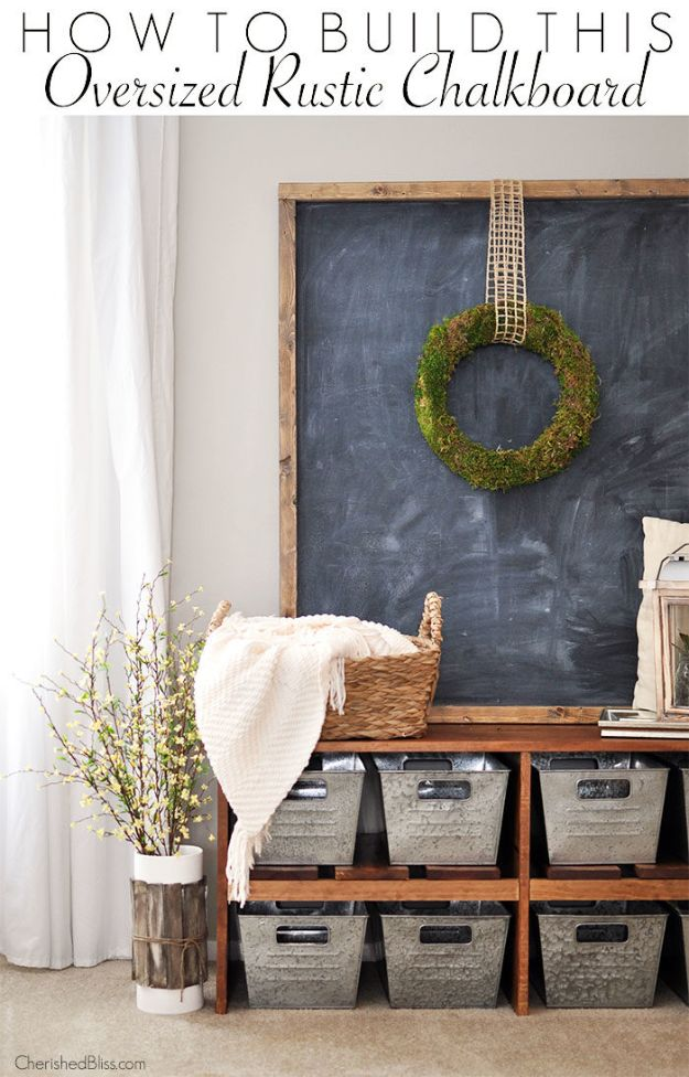 Magnolia Homes Decor Ideas - Oversized Rustic Chalkboard - DIY Decor Inspired by Chip and Joanna Gaines - Fixer Upper Dining Room, Coffee Tables, Light Fixtures for Your House - Do It Yourself Decorating On A Budget With Farmhouse Style Decorations for the Home