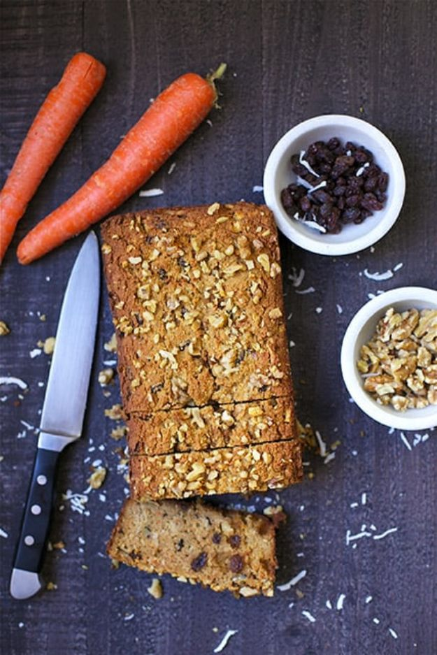 Breakfast Breads - Paleo Morning Glory Bread - Homemade Breakfast Bread Recipes - Healthy Fruit, Nut, Banana and Vegetable Recipe Ideas - Best Brunch Dishes