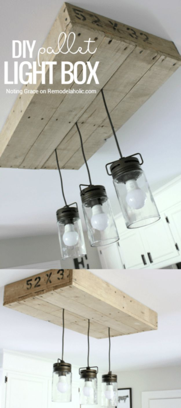 Magnolia Homes Decor Ideas - Pallet Wood Light Box - DIY Decor Inspired by Chip and Joanna Gaines - Fixer Upper Dining Room, Coffee Tables, Light Fixtures for Your House - Do It Yourself Decorating On A Budget With Farmhouse Style Decorations for the Home http://diyjoy.com/magnolia-homes-decor-ideas