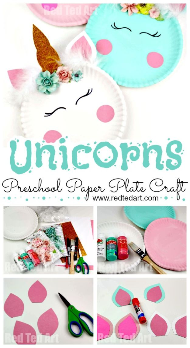 Easy Crafts for Kids - Paper Plate Unicorn Craft - Quick DIY Ideas for Children - Boys and Girls Love These Cool Craft Projects - Indoor and Outdoor Fun at Home - Cheap Playtime Activities #kidscrafts
