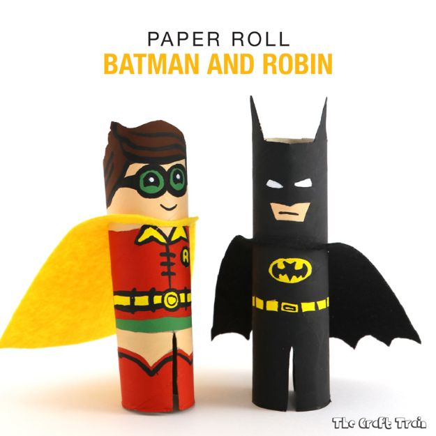 Easy Crafts for Kids - Paper Roll Batman and Robin - Quick DIY Ideas for Children - Boys and Girls Love These Cool Craft Projects - Indoor and Outdoor Fun at Home - Cheap Playtime Activities #kidscrafts