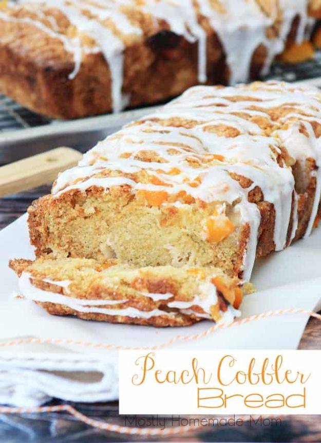 Breakfast Breads - Peach Cobbler Bread - Homemade Breakfast Bread Recipes - Healthy Fruit, Nut, Banana and Vegetable Recipe Ideas - Best Brunch Dishes #breakfastrecipes #brunch https://diyjoy.com/breakfast-bread-recipes