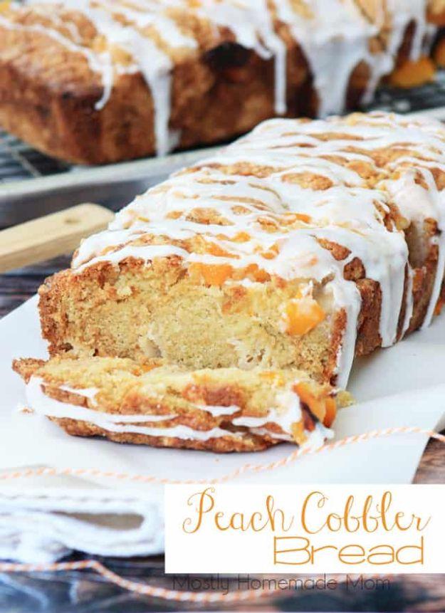 Breakfast Breads - Peach Cobbler Bread - Homemade Breakfast Bread Recipes - Healthy Fruit, Nut, Banana and Vegetable Recipe Ideas - Best Brunch Dishes