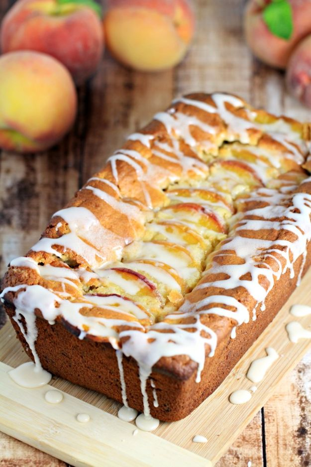 Breakfast Breads - Pecan Peach Quick Bread - Homemade Breakfast Bread Recipes - Healthy Fruit, Nut, Banana and Vegetable Recipe Ideas - Best Brunch Dishes #breakfastrecipes #brunch https://diyjoy.com/breakfast-bread-recipes
